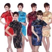 Cheongsam Dewasa Murah Dress Baju Qipao Congsam Merak Kostum Oriental