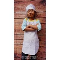Celemek apron dengan topi koki anak / apron 1 set putih anak