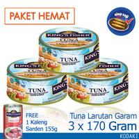 Paket 3 pcs King's Fisher Tuna dalam Air Garam 170g gratis sarden 155g