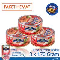 Paket 3 Pcs King's Fisher Tuna Hot Spicy 170g gratis sarden 155g