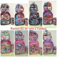 tas ransel sekolah anak SD sets 3in1 spider captain unicorn Lol timbul - Merah-Avenger