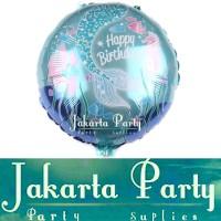 Balon Bulat HBD Fish #2 / Balon Foil Karakter Ikan / Balon Animal