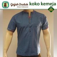 Baju Koko Kemeja Itang Yunaz & Gajah Duduk Blue Short Exclusive