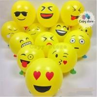 Balon Latex Emoticon / Balon Karet Emoji 12 inch Perpack isi 100 pcs