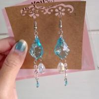 Blue Crystal Swarovski Long Elegant Earring/Anting Kristal BiruPanjang
