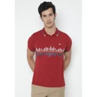 Jack Nicklaus Cadirel Polo Shirt Pria Slim Fit Merah