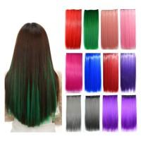 HWLP half wig lurus warna polos big layer hair clip hair extension