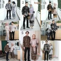 Couple Kebaya Batik Brokat Tile Set Selendang Baju Batik Keluarga