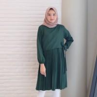 Tunik Wanita Ines Hijau Botol / Baju Atasan Terbaru Limited Edition