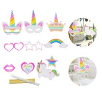 [Promo]10Pcs Topeng Model Unicorn Warna Pelangi untuk