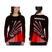 Kaos Baju Lengan Panjang Wanita BADMINTON 02 Fullprint