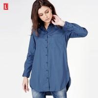 kemeja Lengan Panjang Wanita/ Brazen Navy Shirt 24705L5NA - Logo Jeans