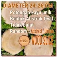 Abstract Wood Slice 24-26cm Potongan kayu unik abstrak talenan nampan