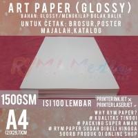 Kertas Art Paper 150 gsm A4 isi 100 Lbr / Bahan Brosur Glossy 150 gram