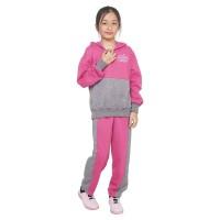 baju setelan anak perempuan pink abu CJ3 stelan olahraga trening style