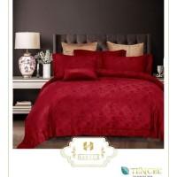 BEDCOVER SET bahan KINGKOIL SUTERA warna MERAH / sprei hotel mewah