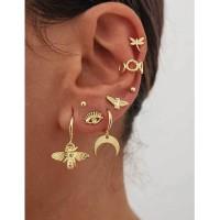 LRC Anting Set Fashion Golden Bee Eye Moon Ear Stud Set D63526