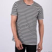 Baju kaos distro salur polos kaus oblong pria belang hitam putih
