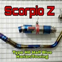 Knalpot Racing Yamaha Scorpio Z type H6 Blue Moon by HNR Product