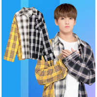 BTS suga atasan kemeja shirt kpop baju big size flanel min yoongi ban