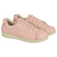 IMPOR / Sepatu Casual Low Cut Wanita Pink / Docmart Boots Kulit Murah