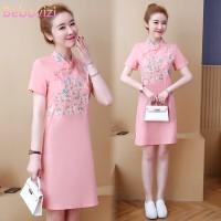 Dress Midi Model Cheongsam Motif Bordir Warna Pink Ada Ukuran Besar