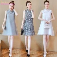 Dress Midi Wanita Model Cheongsam Longgar Tanpa Lengan Bahan Sifon