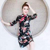 Dress Cheongsam Midi Warna Hitam Ukuran Besar 4XL 3XL XXL untuk