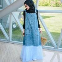Baju Dress Overall Jumpsuit Rok Kodok Monyet Bahan Jeans Tali Ikat
