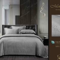 BEDCOVER SET bahan KINGKOIL SUTERA warna Abu/ sprei hotel mewah