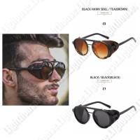 Kacamata sunglass hitam retro motor steampunk bulat