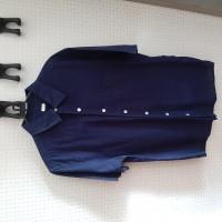 kemeja linen indigo navy biru dongker uniqlo gu shirt
