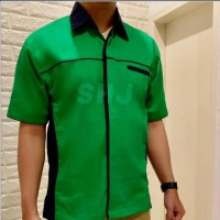 SHJ 018 Seragam kerja - Baju seragam hijau lis biru