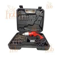 Obeng Listrik Bor Cordless Electric Screwdriver Set 4.8V &45 Mata Baut