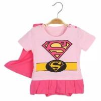Baju bayi anak jenis jumper motif supergirl pink