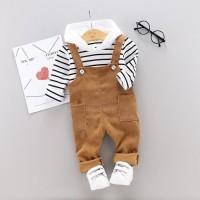 Baju Bayi model setelan hoodie garis garis dan jumper coklat