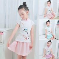 Setelan Kaos T-Shirt Cheongsam Cina Anak Laki-laki / Perempuan