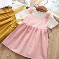 Setelan Kaos Katun Bayi Perempuan Lengan Pendek + Rok Warna Polos