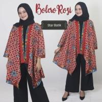 Cardigan Batik Bolero Batik Panjang Outer Batik Merah Annisa