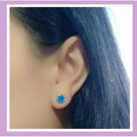 Anting wanita kristal model tempel warna biru tosca