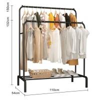 LX132 Rak 2 Row Serbaguna Gantungan Pakaian Baju Metal Hanger - Black