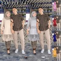 Couple Batik Gamis brokat mutiara- Sarimbit Baju Batik Gamis