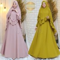 Gamis Syari Alin by Ummina Ori. Dress set khimar. Baju Muslim Umroh