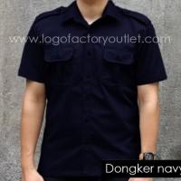 kemeja baju nettv pria pendek kerja PDL lapangan outdoor dongker navy