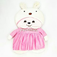 car seat/sarung jok mobil/satu set/monchichi/warna pink/buludru/import