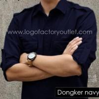 kemeja PDL baju nettv pria panjang kerja lapangan outdoor dongker navy