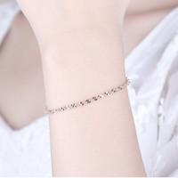 Gelang Emas Putih Silver S925 Import Korea Simple Pesta PLINTIR S9906
