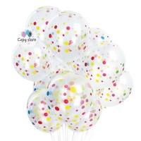 Balon Latex Polkadot Transparant 12 inch Perpack isi 100 pcs