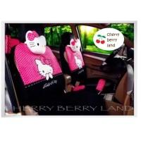 carseat/sarung jok mobil/corak hello kitty/polkadot/warna pink/import