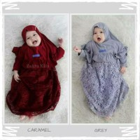 Gamis baju busana Brokat anak bayi perempuan newborn baby set hijab